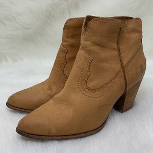 FRYE Women's Brown Leather Ankle Boot Heeled 7